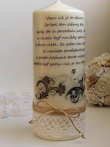 Svietidlá a sviečky - Dekoračná sviečka - výročie sobáša - 6708075_