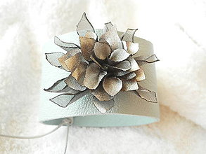 Náramky - Náramok kožený, ľadový strapáčik - 6707413_