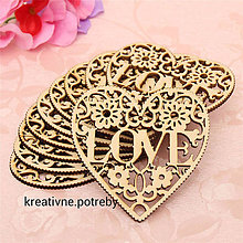 Polotovary - Vyrezané srdce LOVE, ihneď - 6707850_