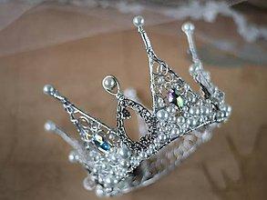 Ozdoby do vlasov - královská koruna s perlami a kameny - 6706021_