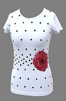 Tričká - Tričko s kvetom a bodkami - Pivonka - 6710939_