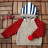 - Detský svetrík s bodkami a pásikmi - 6710414_