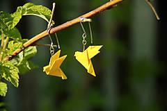 Náušnice - Žluté holubičky - 6710228_