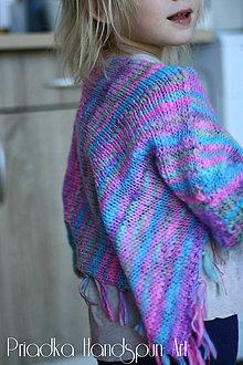 Detské oblečenie - Svetrík-pončo z ručne pradenej merino vlny - 6709999_
