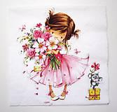 - Servítka D10-  Dievčatko s kvetmi - 6711522_
