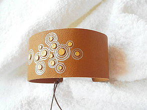 Náramky - Náramok kožený, strieborný bublifuk - 6710310_