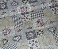 Textil - Love Lila srdiečko šedý patchwork - 6715302_