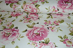 Textil - Látka Ruže na smotanovej digi - 6715438_