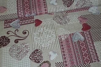 Textil - Látka Srdiečka patchwork bordó - 6714193_
