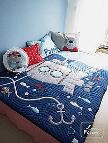 Úžitkový textil - Námornícka patchworková deka s vankúšikmi - 6713072_