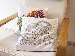 Úžitkový textil - COLOR ME vyfarbovací vankúšik Morská panna - 6714754_