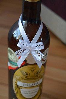 Pierka - ozdoby na fľaše s čipkou - 6717962_