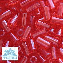 Korálky - TOHO rokajl (Bugle 3mm) Transparent siam ruby - 6715655_