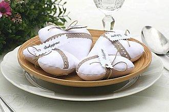 Darčeky pre svadobčanov - Biele natur srdiečka - 6716223_