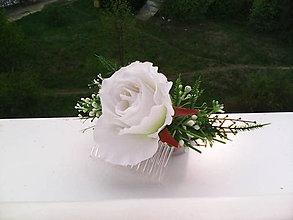 """Ozdoby do vlasov - Hrebienok do vlasov """"Biela ružička..."""" - 6719512_"""