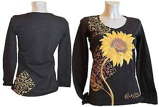 Tričká - Ručne maľované tričko s motívom slnečnice - 6715745_
