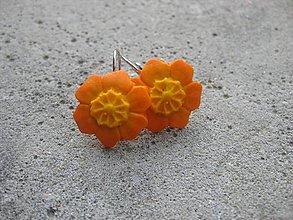 Náušnice - Kvietky (Oranžové kvietky č.461) - 6716345_
