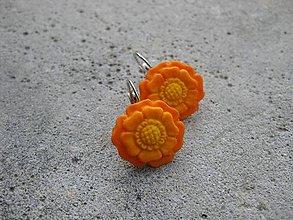 Náušnice - Kvietky (Oranž kvietky č.463) - 6716543_