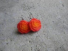 Náušnice - Kvietky (Červené ružičky č.464) - 6716582_