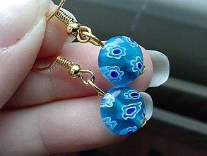 Náušnice - Modré millefiori - 6718652_