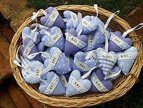 Darčeky pre svadobčanov - Fialky, ... svadobné srdiečka s iniciálkami, 10 cm - 6715884_