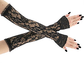 Iné doplnky - Dámské čipkované čierné spoločenské rukavice 0025H4 - 6724547_