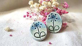 Náušnice - modrý kvet - 6721834_