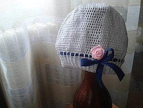 Detské čiapky - Ružička s mašľou - detská čiapočka - 6723595_