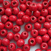 Korálky - Drevené korálky 7x8mm-50ks (červená) - 6722193_