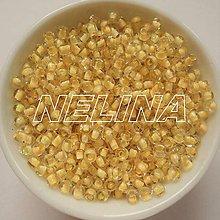 Korálky - Rokajl 3mm s farebným prieť-20g (krémová) - 6724433_