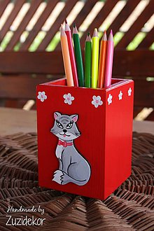 Detské doplnky - Stojan na perá a ceruzky mačička - 6723086_