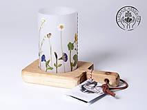 Svietidlá a sviečky - Robustus Svietnik s kvetinovým tienidlom - lúčne kvietky - 6723053_