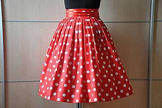 Sukne - SUKŇA - biele bodky na červenej - 6723070_