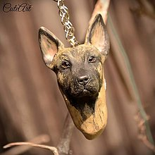 Kľúčenky - Kľúčenka s hlavičkou psa podľa fotografie - belgický ovčiak - 6723151_
