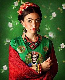 Tričká - Tričko a náušnice s motívom Frida - 6720929_