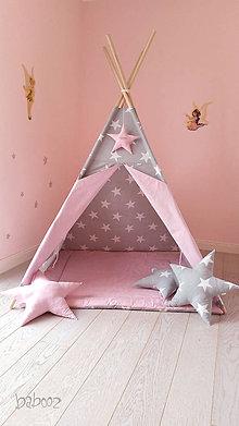 Detské doplnky - Tipi svetlosive s hviezdou s menom - 6724327_
