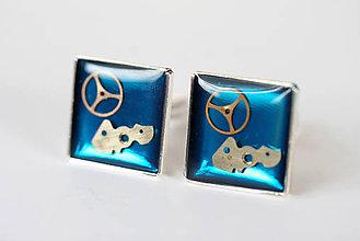 Šperky - Steampunkové manžetové gombíky, tyrkysové - 6721840_