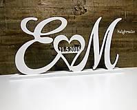 Dekorácie - iniciály s dátumom svadby - 6728571_