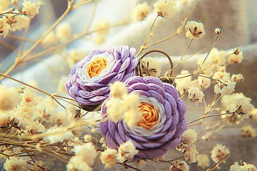 Náušnice - Pudrové fialky - 6727821_