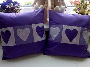 Úžitkový textil - fialové srdiečka vo fialovom objatí - 6724906_