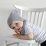 Detské čiapky - Čiapka s nákrčníkom(Šedá) - 6726251_