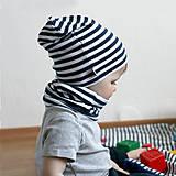 Detské čiapky - Čiapka s nákrčníkom(Bielo-modrá prúžkovaná) - 6726318_