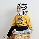 Detské čiapky - Čiapka s nákrčníkom(Bielo-čierna prúžkovaná) - 6726414_