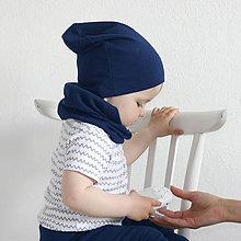 Detské čiapky - Čiapka s nákrčníkom( Modrá) - 6726196_