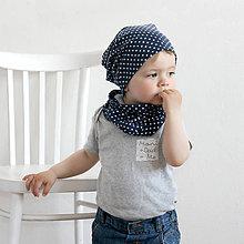 Detské čiapky - Čiapka s nákrčníkom( Modrá-bodkovaná) - 6726226_