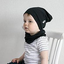 Detské čiapky - Čiapka s nákrčníkom(Čierna) - 6726378_