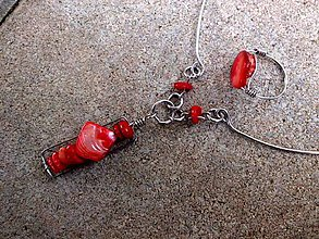 Sady šperkov - oceľová sada náhrdelník + prsteň  s  červeným   korálom a  nugetom - 6727429_