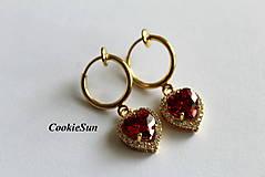Náušnice - Klipsne Zircon Heart Red in Gold - 6724806_