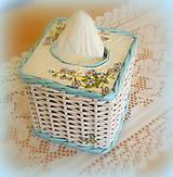 Košíky - Košík kocka na vreckovky - tyrkys - 6726387_