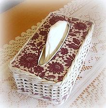 Košíky - Košík - krabička na vreckovky čipkovaná - 6726476_